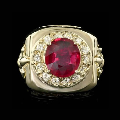 Mens Ruby and Diamond Ring
